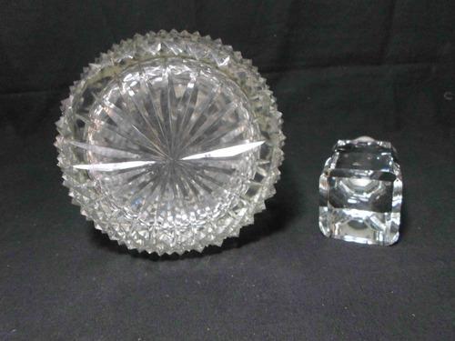 antiguo gran botellón en cristal hialino tapón facetado 35cm