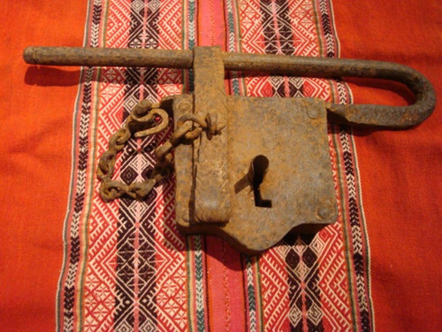 antiguo gran candado hierro remachad llave tranquera criollo