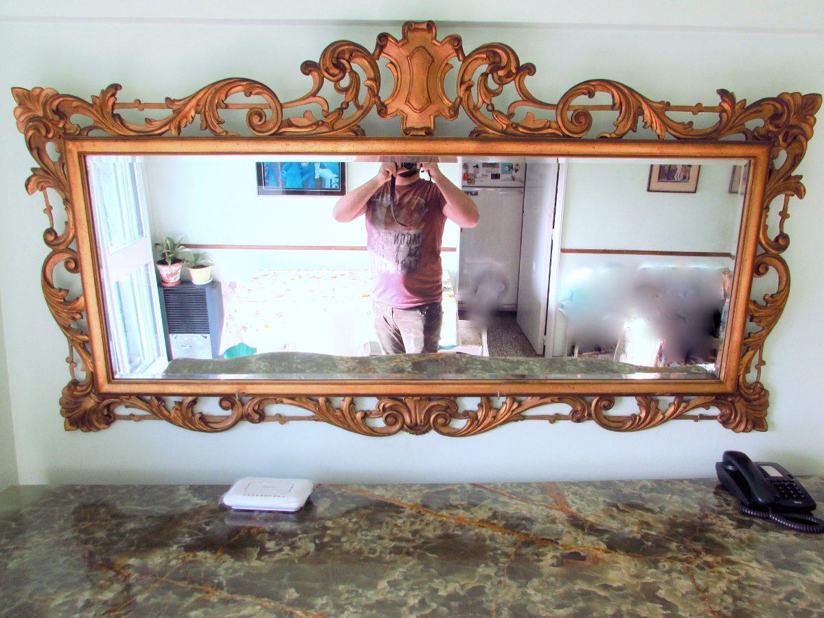 Antiguo Gran Espejo, Marco Frances Tallado En Madera - $ 17.500,00 ...