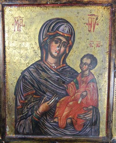 antiguo icono ortodoxo probablemente ruso virgen niño dios