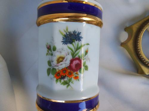 antiguo jarrón florero porcelana y bronce flores envío h
