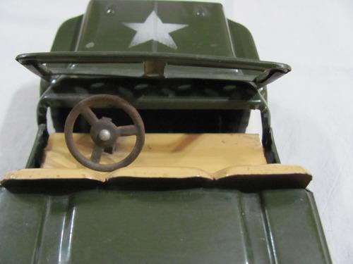 antiguo jeep de chapa milita. made in japan. 22 cm