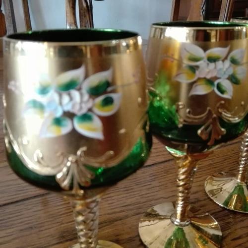 antiguo juego cristal veneciano jarra licorera 6 copas vino