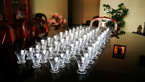 antiguo juego de copas de cristal tallado 47 piezas