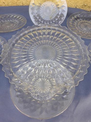 antiguo juego de lunch en vidrio prensado 7 piezas 53