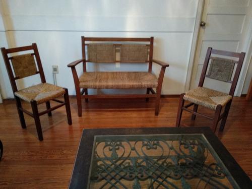 antiguo juego de patio o jardín de sillón y 2 sillas madera