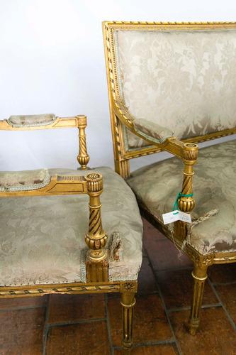 antiguo juego de sala living francés dorado a la hoja