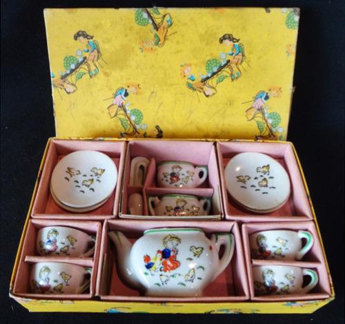 antiguo juego de té juguete con caja. made in japan. 10453
