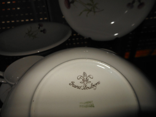antiguo juego de té loza nacional grand boulogne, 73 piezas
