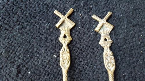 antiguo juego de tenedor y cuchara de bronce - decorativo