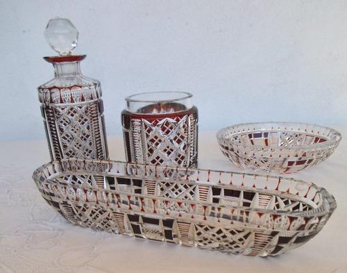 antiguo juego de tocador cristal muy tallado rubí envíos pt