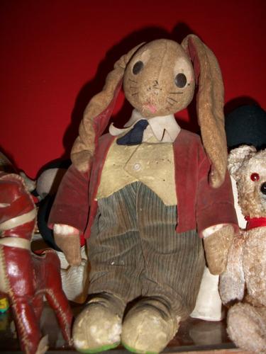 antiguo juguete conejo de estopa y paño lenci