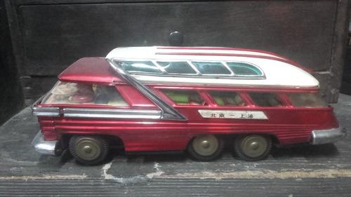 antiguo juguete de chapa colectivo chino futurista