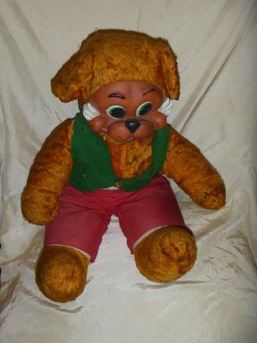 antiguo juguete oso de peluche cara de goma ind arg
