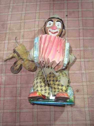 antiguo juguete payaso alps japan de chapa a pila 27 cm altu
