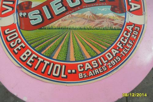 antiguo lámina etiqueta bodega publicidad vino siecor cartel