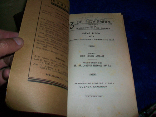 antiguo libro,  3 de noviembre   municipalidad de cuenca