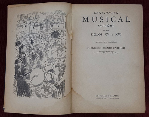 antiguo libro cancionero musical español siglos xv-xvi 1945