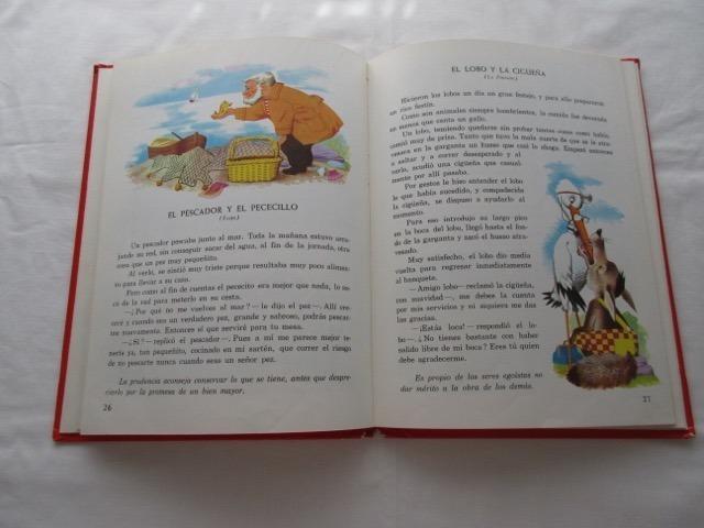 Antiguo Libro Fábulas Con Dibujos A Color, Tapa Dura, Ed. Si - $ 500 ...