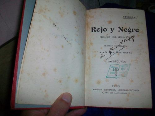 antiguo libro rojo y negro, crónica del siglo xix.