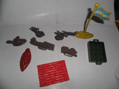 antiguo lote de juguete trovador bandera muro balsa