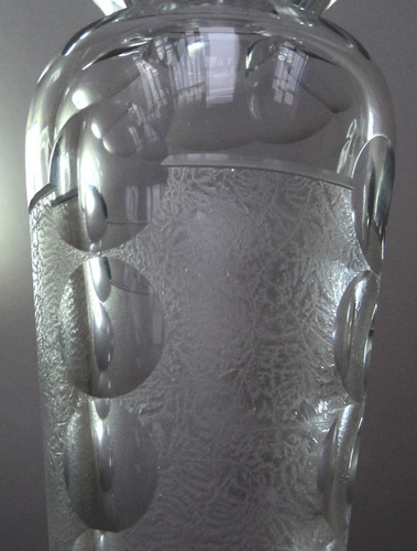 antiguo magnifico vidrio cristal art deco 25 cm vaso florero