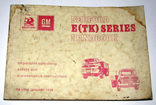 antiguo manual auto camion bedford e tk series gm año 1978