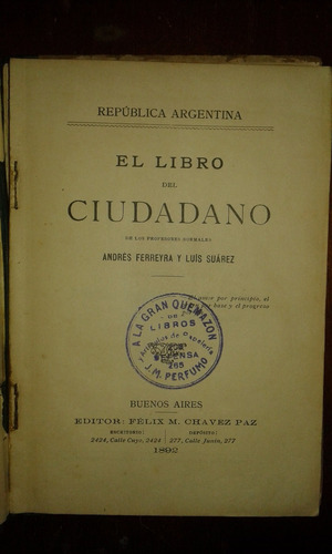 antiguo manual de instrucción cívica 1892