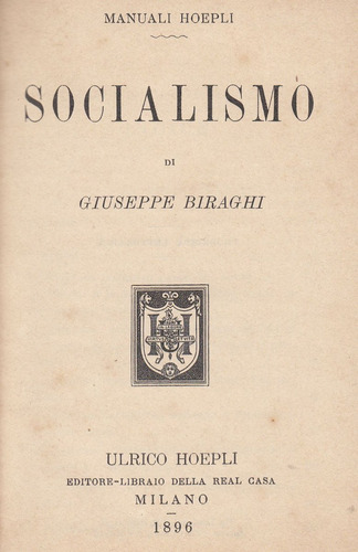 antiguo manual hoepli italia 1896 socialismo x biraghi raro