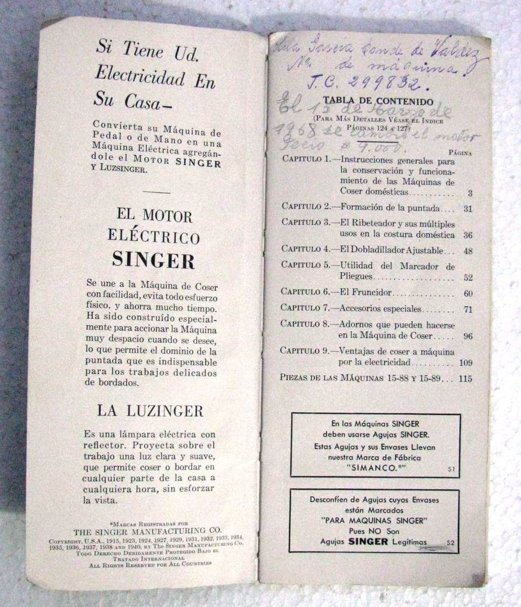 Antiguo Manual Maquina Coser Singer 15 Instrucciones Uso