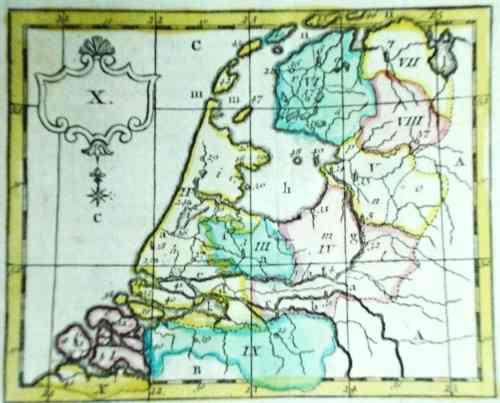 antiguo mapa de ámsterdam (c.a 1750)