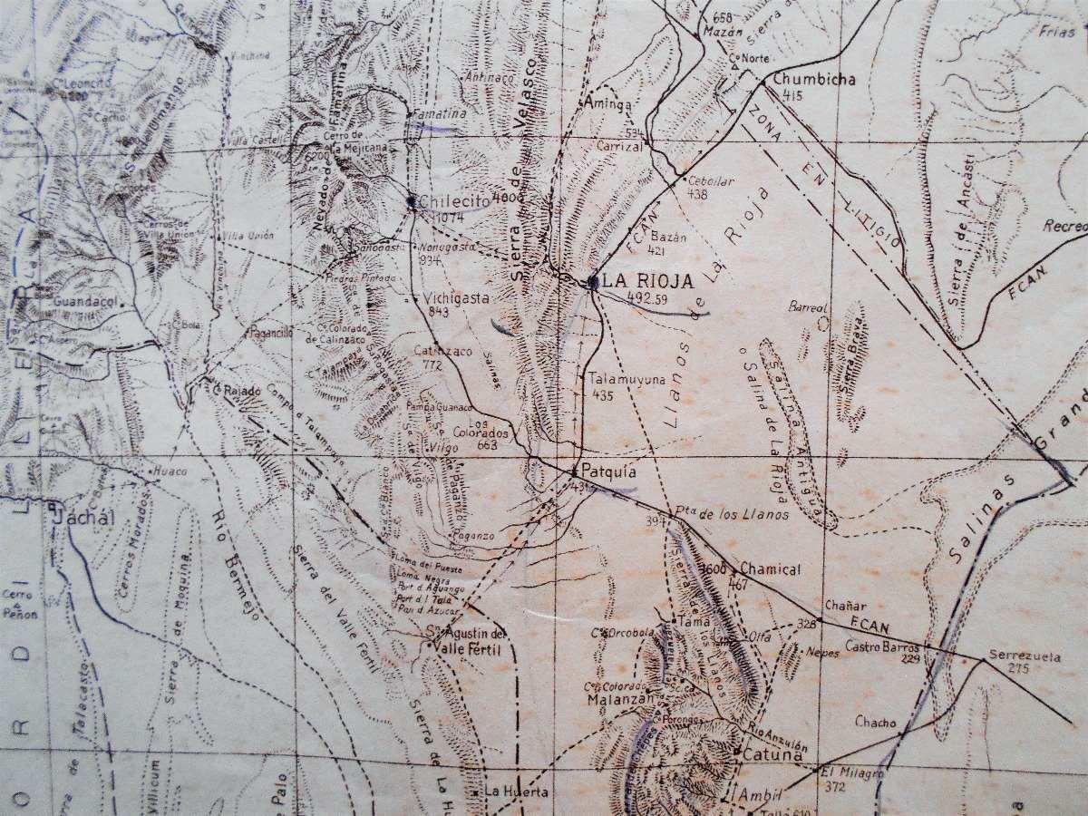 Antiguo Mapa De La Rioja Caminos Ferrocarriles Pueblos 1926