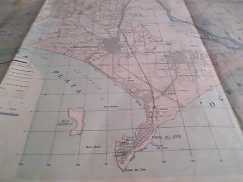 antiguo mapa de punta del este y san carlos