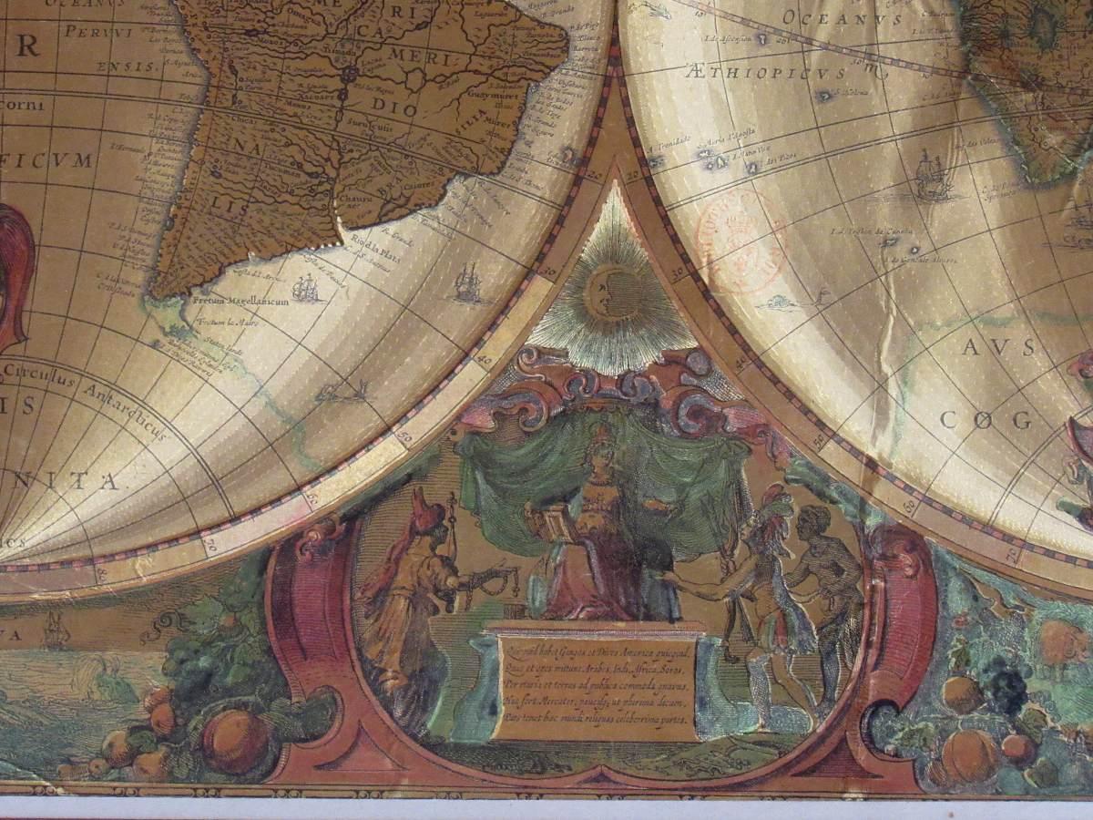 Antiguo Mapa Planisferio Mapa Mundi Dorado Enmarcado Vintage