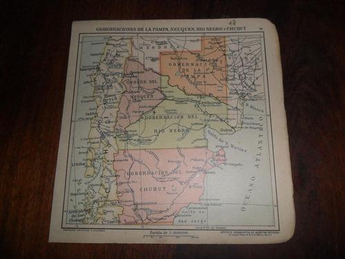 antiguo mapa plano 1918 la pampa neuquen rio negro chubut
