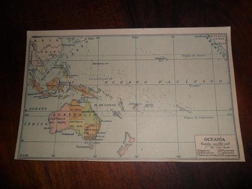 antiguo mapa plano oceania australia borneo fiji años 30