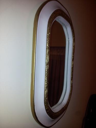 antiguo marco en madera restaurado a nuevo !  con espejo