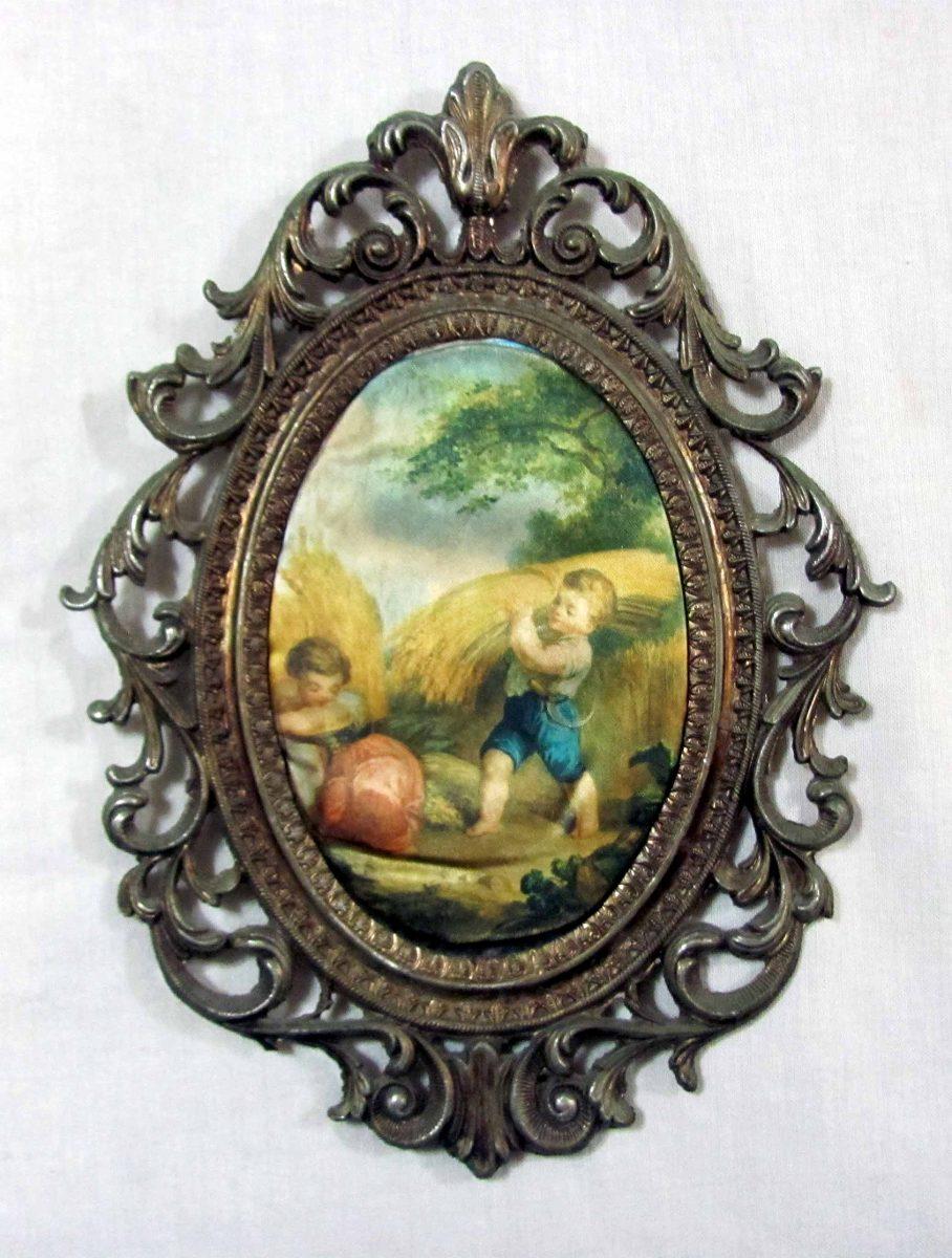 Antiguo Marco Estilo Frances Metálico Ovalado. 19 Cm X 25 Cm - $ 400 ...