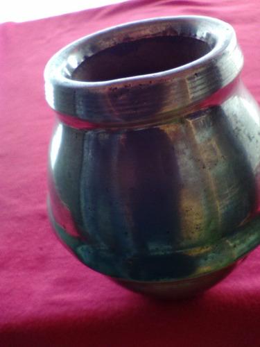antiguo mate de madera forrado de cobre niquelado mat.a 8637