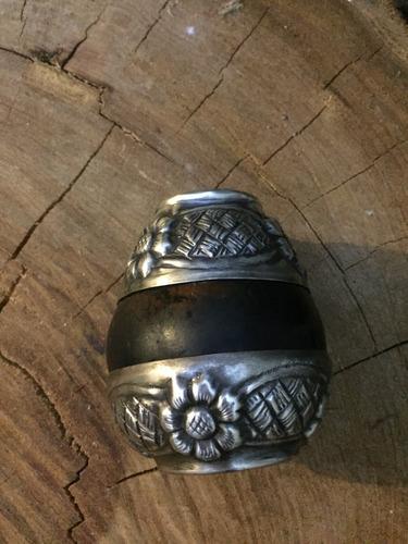 antiguo mate labrado grabado alpaca o plata de coleccion