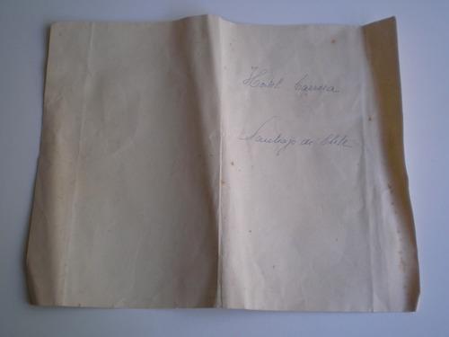 antiguo menú del hotel carrera santiago de chile enero 1952