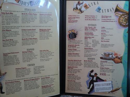 antiguo menu friday's tgi friday's 1993 usa vintage retro