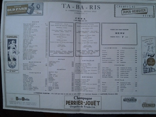 antiguo menu tabaris 1949