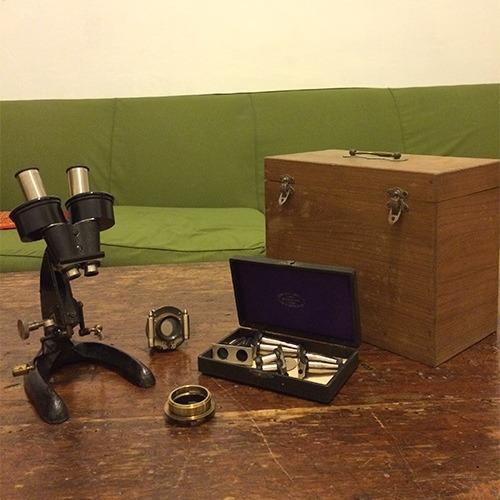 antiguo microscopio alemán carl zeiss  + accesorios.