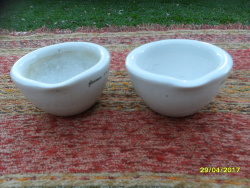 antiguo mortero porcelana gunther farmacia sin pisón   c/u