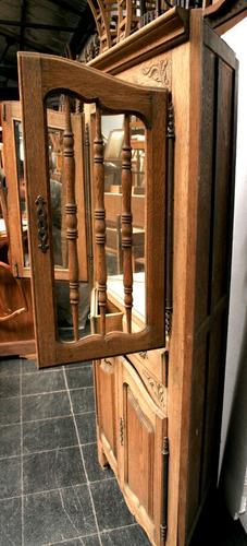 antiguo mueble esquinero puertas provenzal madera cristalero