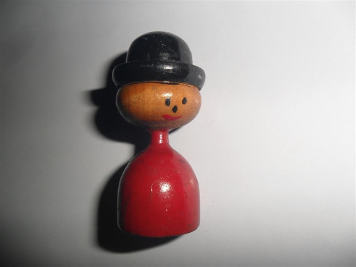 antiguo muñeco madera muñequito caballero bombin sombrero