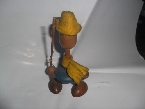 antiguo muñeco madera pesca pescador retro juguete caña