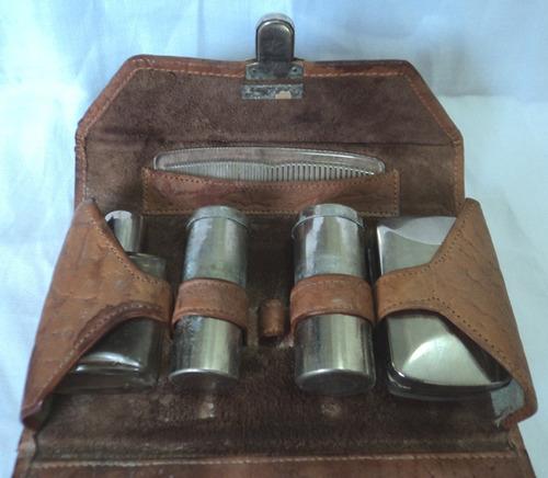 antiguo neceser de cuero para hombre valija perfume jabon