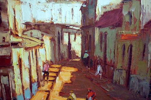 antiguo oleo ciudad italiana o africana
